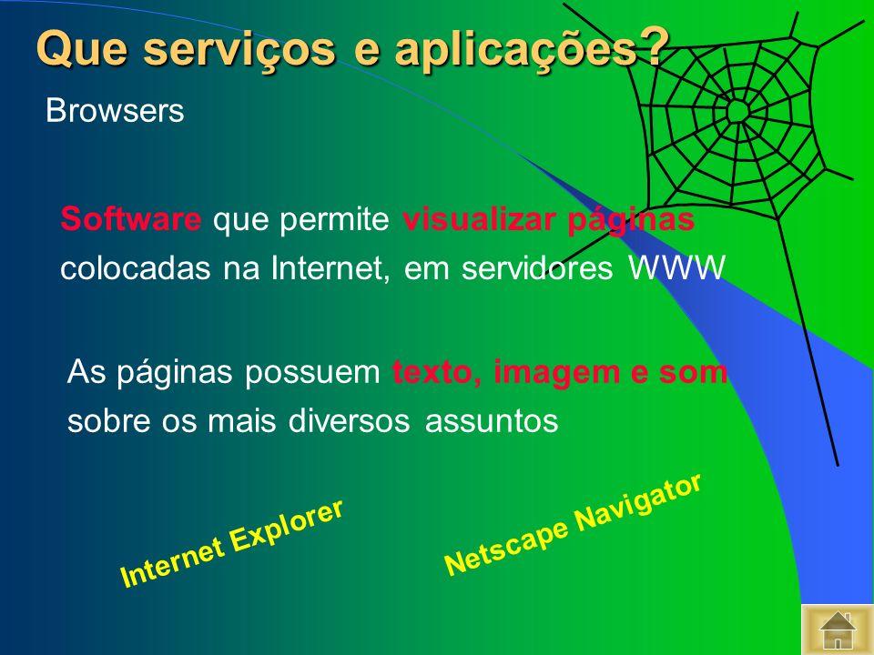 Software que permite visualizar páginas colocadas na Internet, em servidores WWW Que serviços e aplicações ? Que serviços e aplicações ? Internet Expl