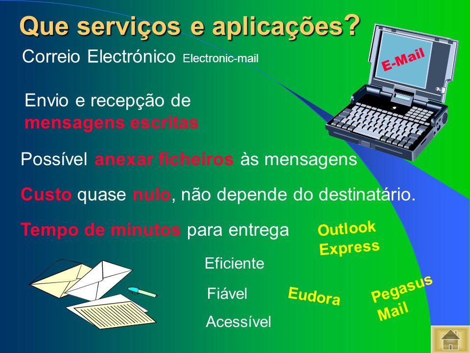 Que serviços e aplicações ? Que serviços e aplicações ? Correio Electrónico Electronic-mail Fiável Tempo de minutos para entrega Custo quase nulo, não