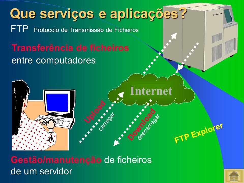 Que serviços e aplicações ? Que serviços e aplicações ? FTP Protocolo de Transmissão de Ficheiros Gestão/manutenção de ficheiros de um servidor FTP Ex