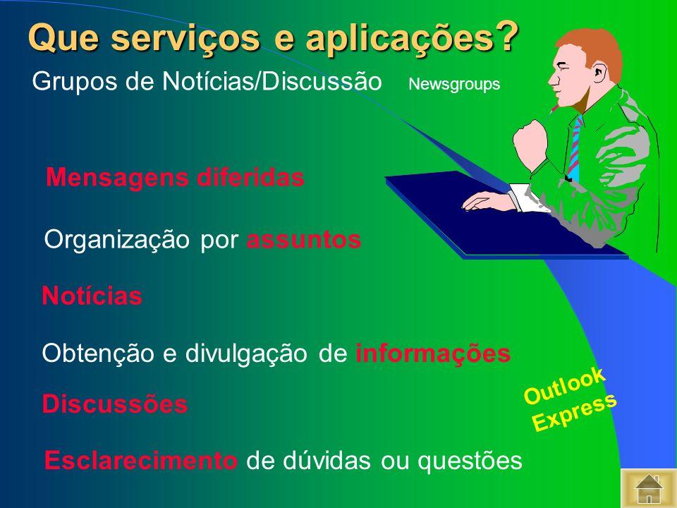 Que serviços e aplicações ? Que serviços e aplicações ? Grupos de Notícias/Discussão Newsgroups Mensagens diferidas Organização por assuntos Notícias