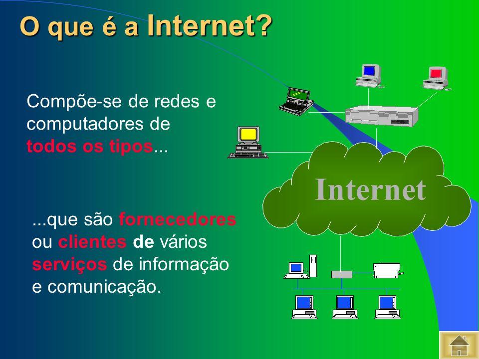 As redes e computadores usam regras comuns designadas por: protocolos A Internet utiliza os protocolos TCP/IP Transmission Control Protocol / Internet Protocol Como comunicam entre si.