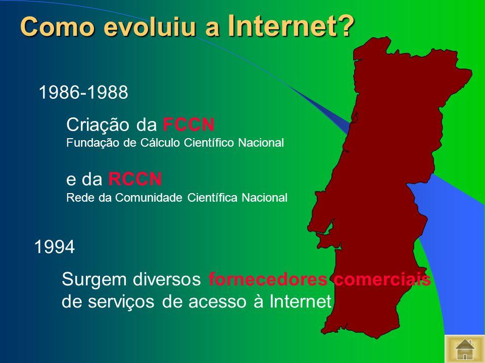 Como evoluiu a Internet? Como evoluiu a Internet? 1986-1988 Criação da FCCN Fundação de Cálculo Científico Nacional e da RCCN Rede da Comunidade Cient