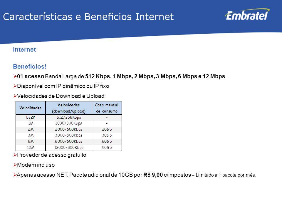 Gestão de Mercado Internet Benefícios! 01 acesso Banda Larga de 512 Kbps, 1 Mbps, 2 Mbps, 3 Mbps, 6 Mbps e 12 Mbps Disponível com IP dinâmico ou IP fi