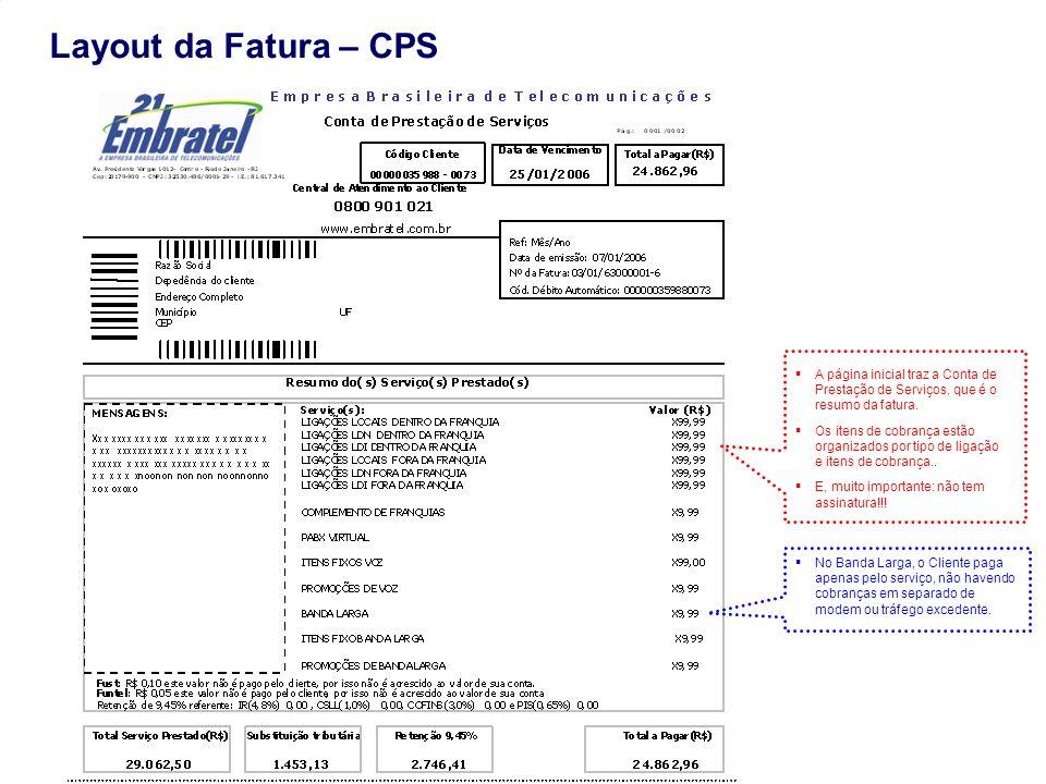 Gestão de Mercado Layout da Fatura – CPS A página inicial traz a Conta de Prestação de Serviços, que é o resumo da fatura. Os itens de cobrança estão