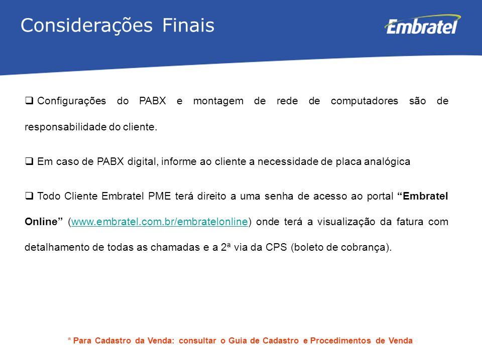 Gestão de Mercado Considerações Finais Configurações do PABX e montagem de rede de computadores são de responsabilidade do cliente.