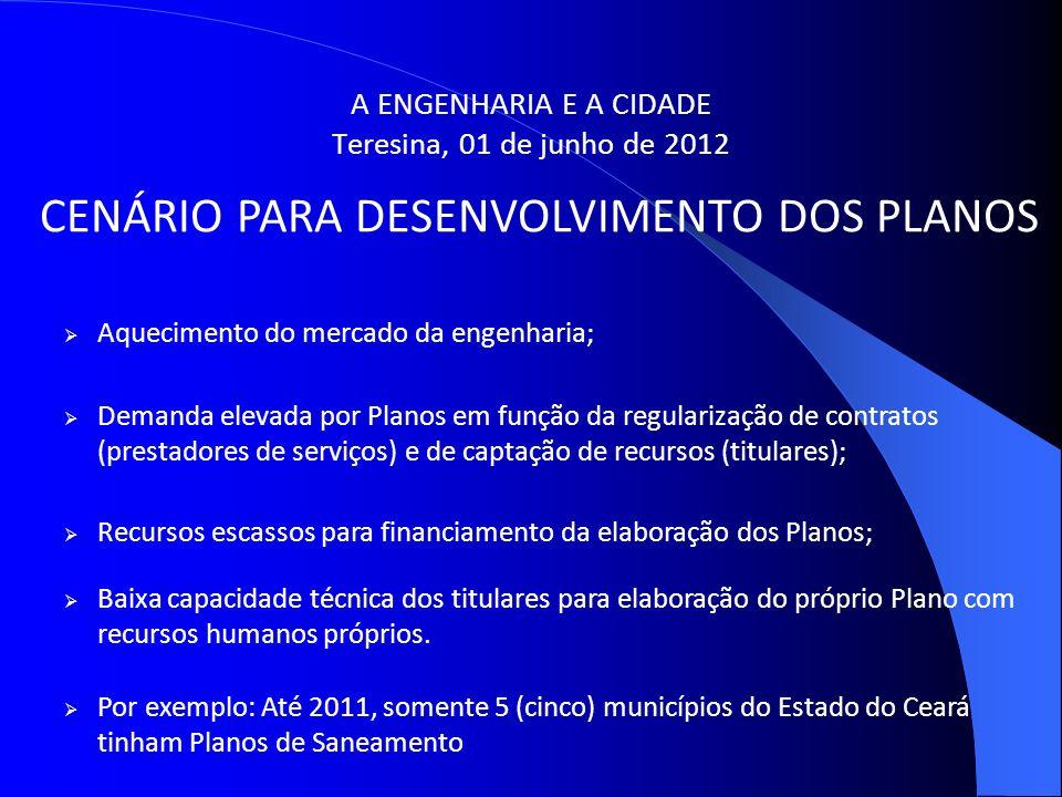 A ENGENHARIA E A CIDADE Teresina, 01 de junho de 2012 CENÁRIO PARA DESENVOLVIMENTO DOS PLANOS Aquecimento do mercado da engenharia; Demanda elevada po