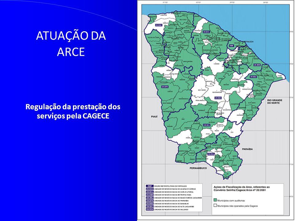 ATUAÇÃO DA ARCE Regulação da prestação dos serviços pela CAGECE