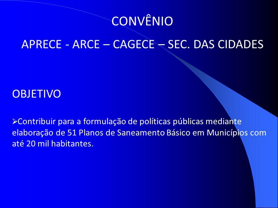 CONVÊNIO APRECE - ARCE – CAGECE – SEC. DAS CIDADES OBJETIVO Contribuir para a formulação de políticas públicas mediante elaboração de 51 Planos de San