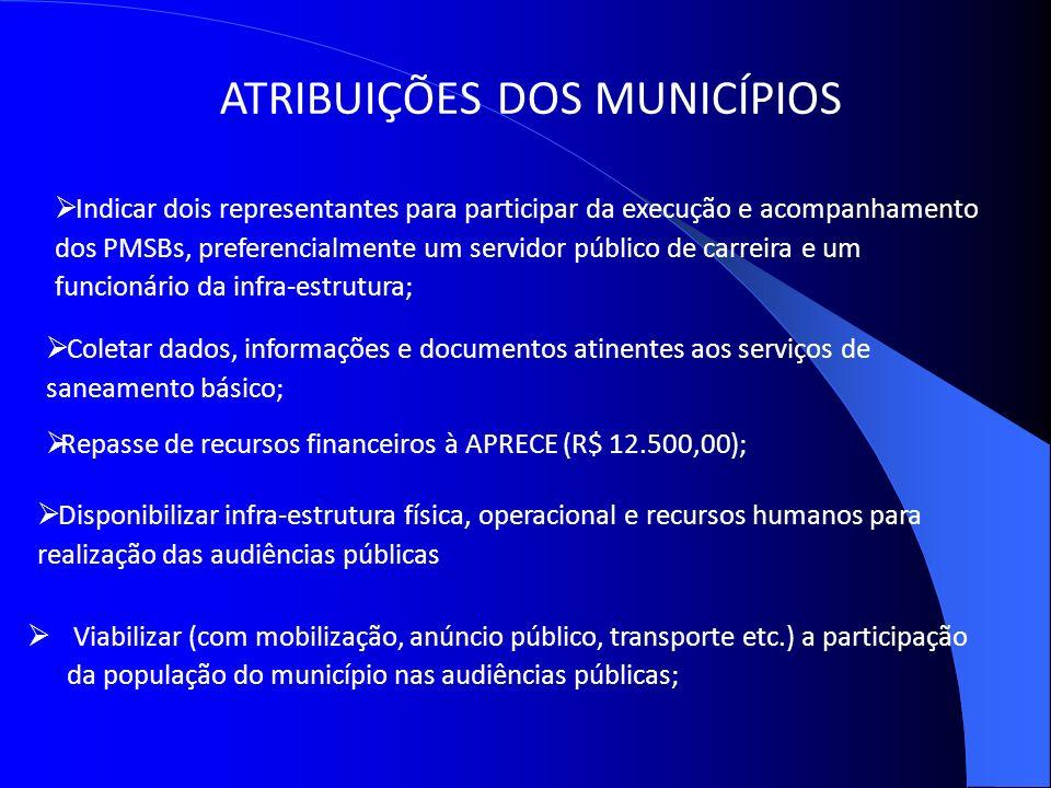 ATRIBUIÇÕES DOS MUNICÍPIOS Viabilizar (com mobilização, anúncio público, transporte etc.) a participação da população do município nas audiências públ