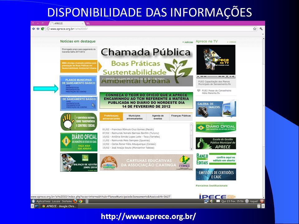http://www.aprece.org.br/ DISPONIBILIDADE DAS INFORMAÇÕES