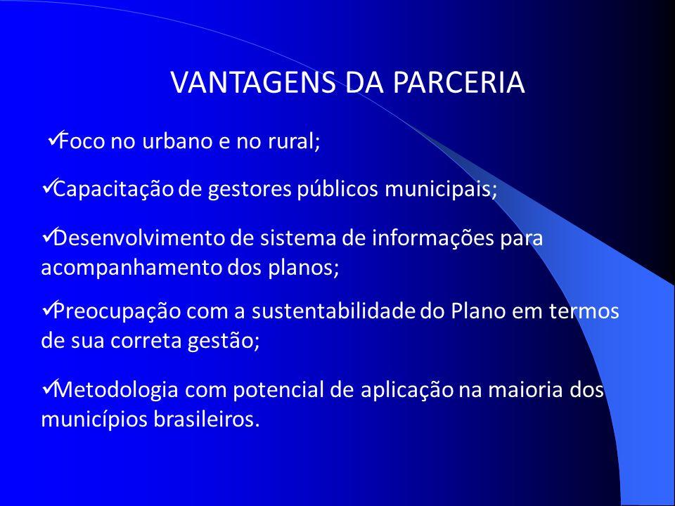 Metodologia com potencial de aplicação na maioria dos municípios brasileiros. VANTAGENS DA PARCERIA Foco no urbano e no rural; Capacitação de gestores