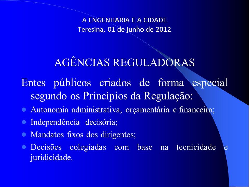 A ENGENHARIA E A CIDADE Teresina, 01 de junho de 2012 AGÊNCIAS REGULADORAS Entes públicos criados de forma especial segundo os Princípios da Regulação