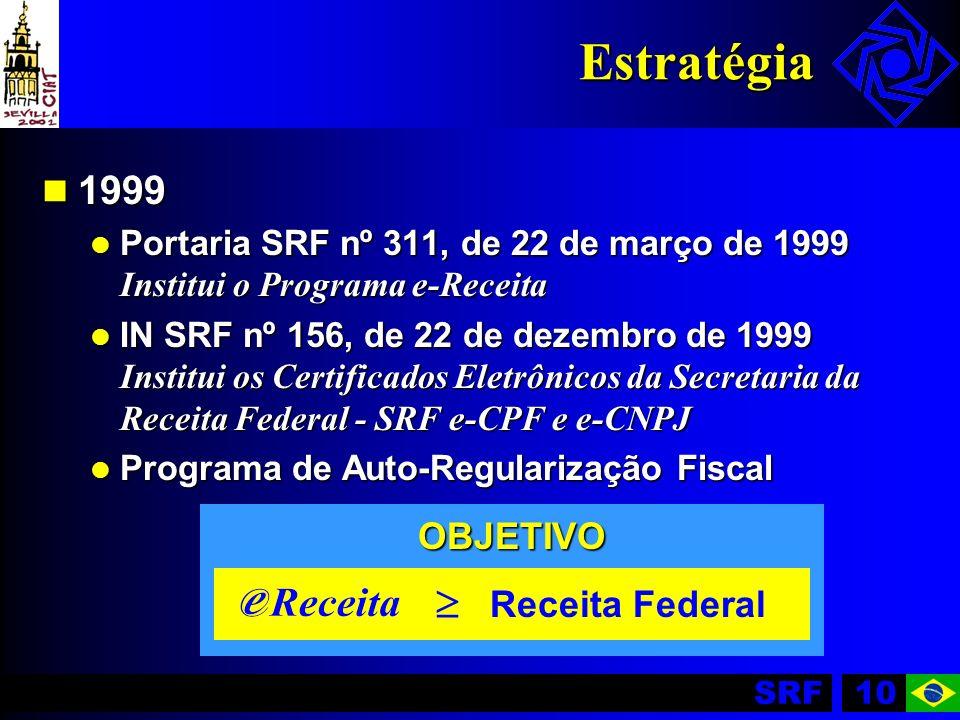SRF10 Estratégia 1999 1999 Portaria SRF nº 311, de 22 de março de 1999 Institui o Programa e-Receita Portaria SRF nº 311, de 22 de março de 1999 Insti