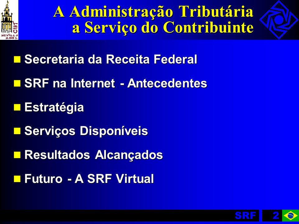 SRF33 Resultados Alcançados Página da SRF na Internet IWBest 97/98 Top 5 - Serviços On-line / Comércio Eletrônico Hélio Beltrão 98 Dado pelo Ministério da Reforma Administrativa (MARE) CONIP 98 Serviços Públicos