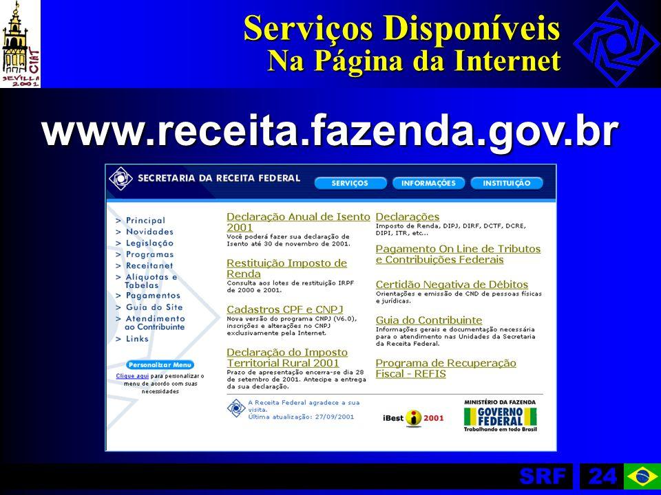 SRF24 Serviços Disponíveis Na Página da Internet www.receita.fazenda.gov.br
