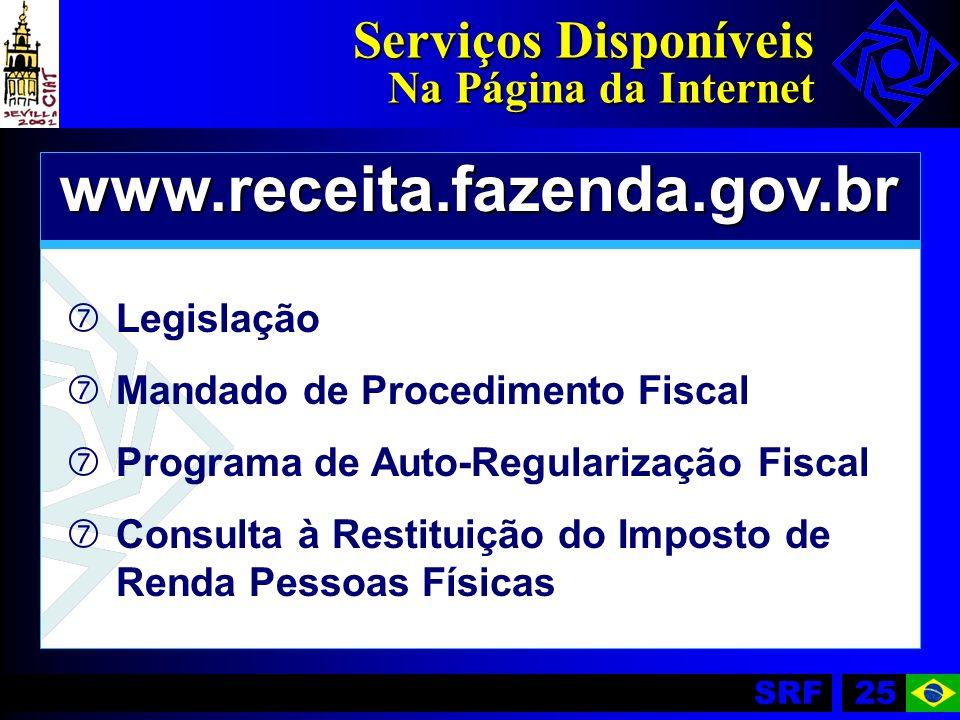 SRF25 Serviços Disponíveis Na Página da Internet www.receita.fazenda.gov.br ‡ ‡Legislação ‡ ‡Mandado de Procedimento Fiscal ‡ ‡Programa de Auto-Regula