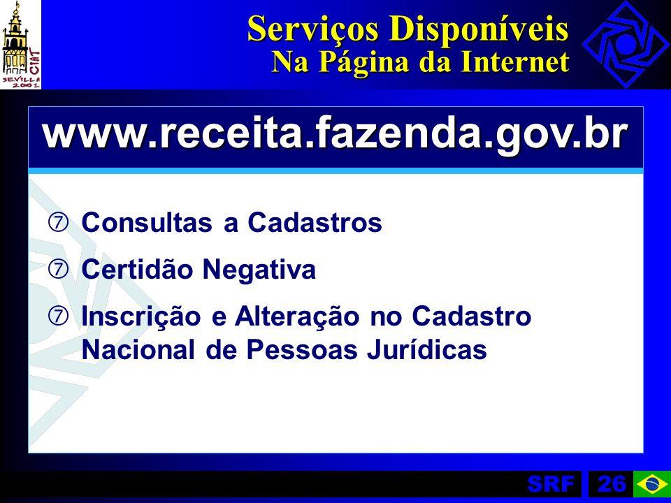 SRF26 Serviços Disponíveis Na Página da Internet www.receita.fazenda.gov.br ‡ ‡Consultas a Cadastros ‡ ‡Certidão Negativa ‡ ‡Inscrição e Alteração no