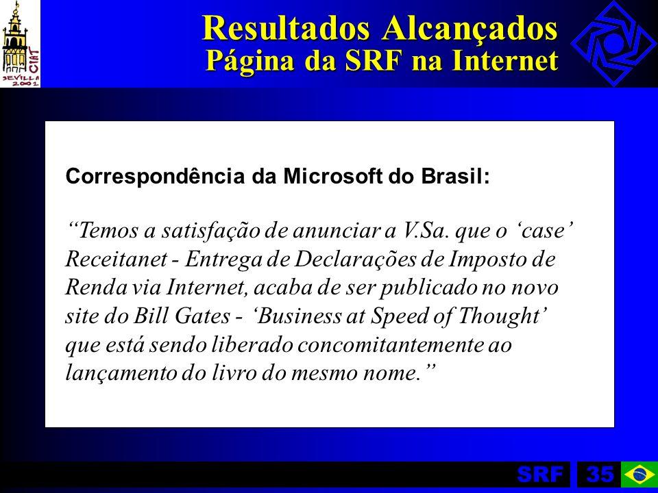 SRF35 Resultados Alcançados Página da SRF na Internet Correspondência da Microsoft do Brasil: Temos a satisfação de anunciar a V.Sa. que o case Receit