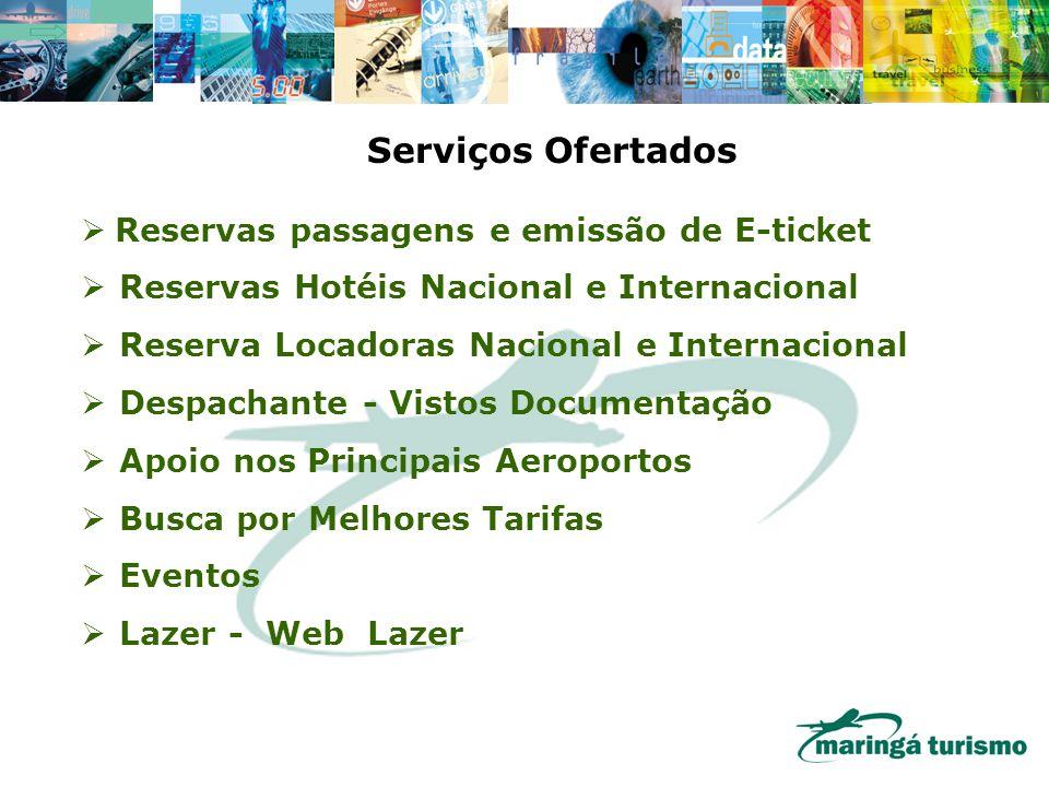 Serviços Ofertados Reservas passagens e emissão de E-ticket Reservas Hotéis Nacional e Internacional Reserva Locadoras Nacional e Internacional Despac