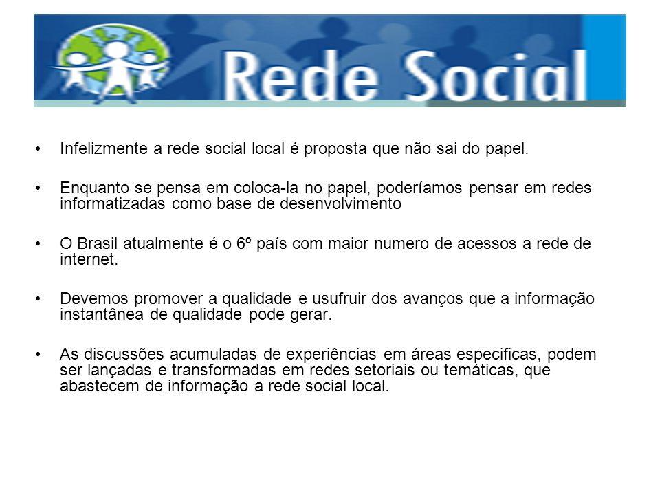Infelizmente a rede social local é proposta que não sai do papel. Enquanto se pensa em coloca-la no papel, poderíamos pensar em redes informatizadas c