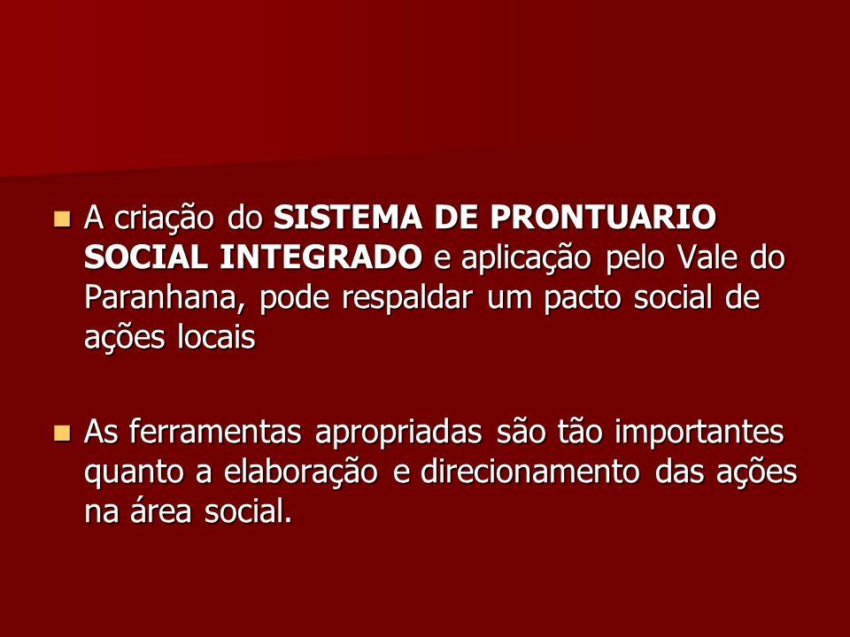A criação do SISTEMA DE PRONTUARIO SOCIAL INTEGRADO e aplicação pelo Vale do Paranhana, pode respaldar um pacto social de ações locais A criação do SI