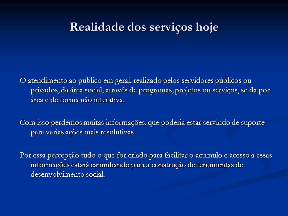 Realidade dos serviços hoje O atendimento ao publico em geral, realizado pelos servidores públicos ou privados, da área social, através de programas,