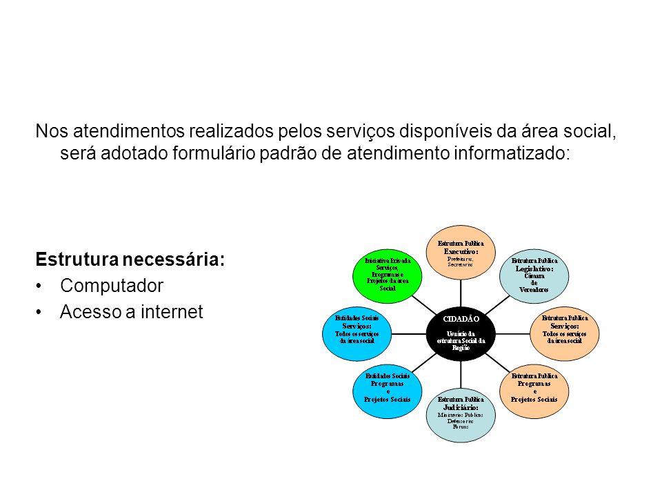 Nos atendimentos realizados pelos serviços disponíveis da área social, será adotado formulário padrão de atendimento informatizado: Estrutura necessár