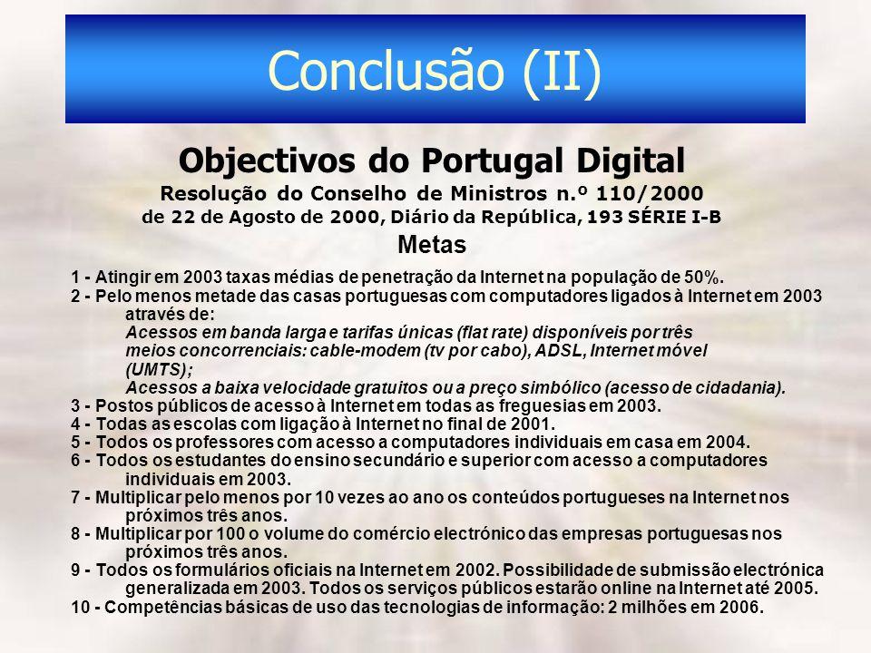 Conclusão (II) Objectivos do Portugal Digital Resolução do Conselho de Ministros n.º 110/2000 de 22 de Agosto de 2000, Diário da República, 193 SÉRIE