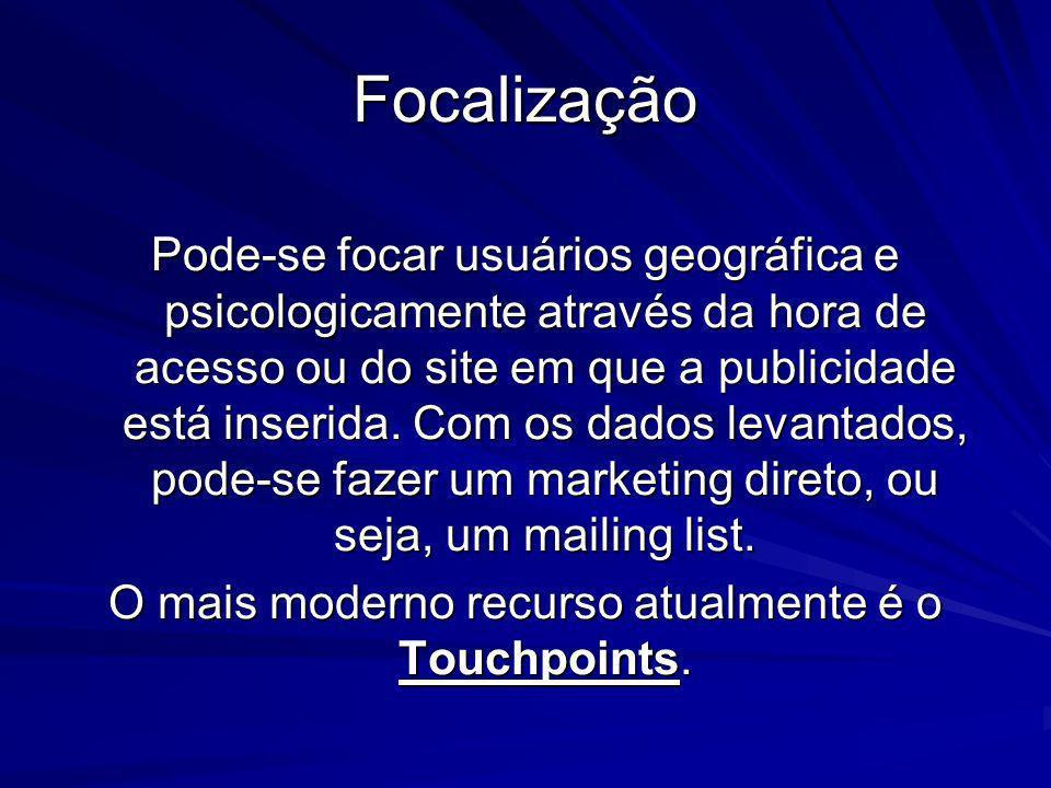 Focalização Pode-se focar usuários geográfica e psicologicamente através da hora de acesso ou do site em que a publicidade está inserida. Com os dados