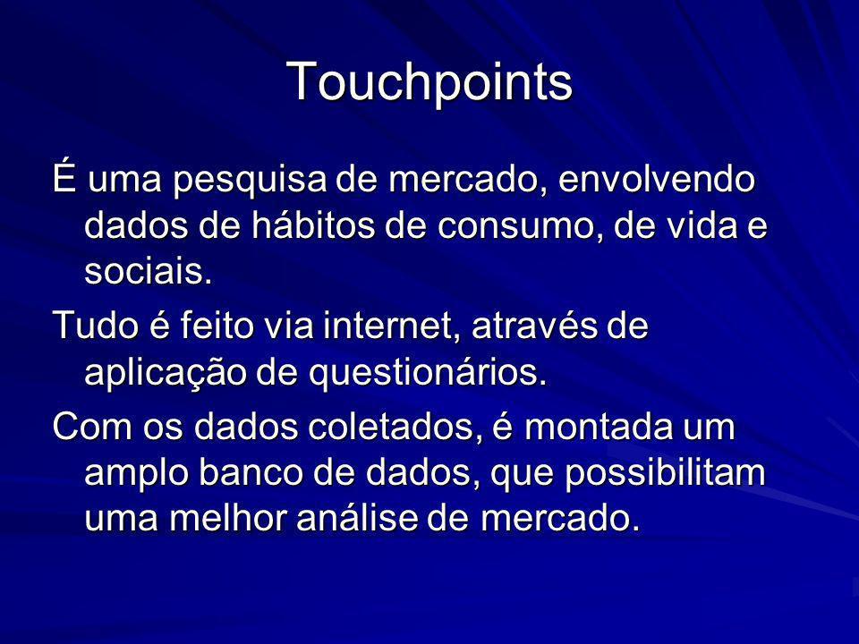 Touchpoints É uma pesquisa de mercado, envolvendo dados de hábitos de consumo, de vida e sociais. Tudo é feito via internet, através de aplicação de q