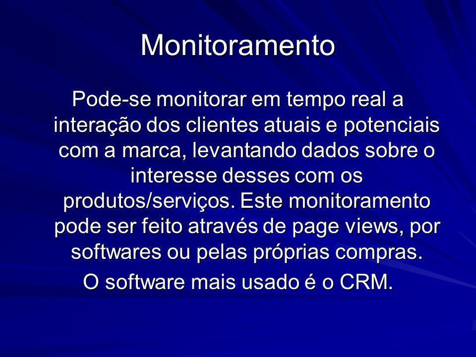 Monitoramento Pode-se monitorar em tempo real a interação dos clientes atuais e potenciais com a marca, levantando dados sobre o interesse desses com