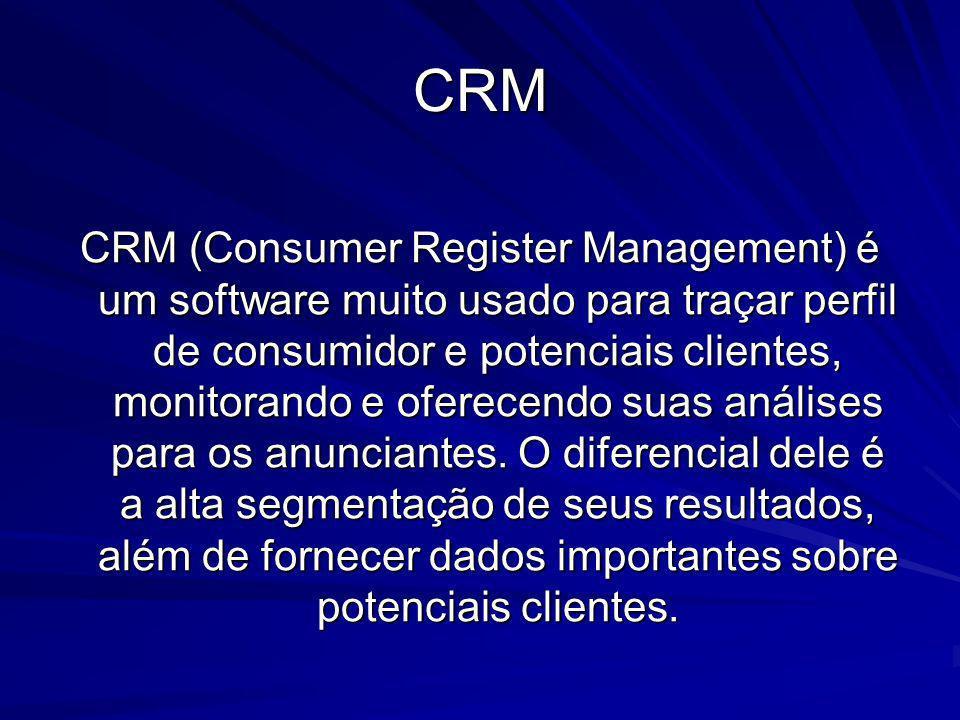 CRM CRM (Consumer Register Management) é um software muito usado para traçar perfil de consumidor e potenciais clientes, monitorando e oferecendo suas