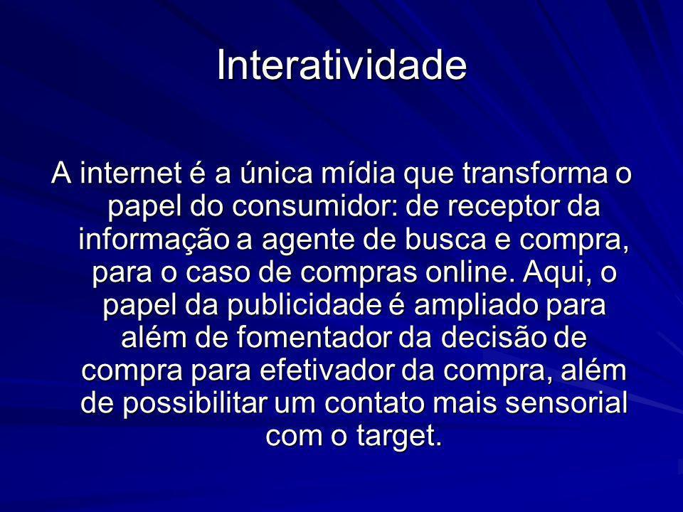 Interatividade A internet é a única mídia que transforma o papel do consumidor: de receptor da informação a agente de busca e compra, para o caso de c