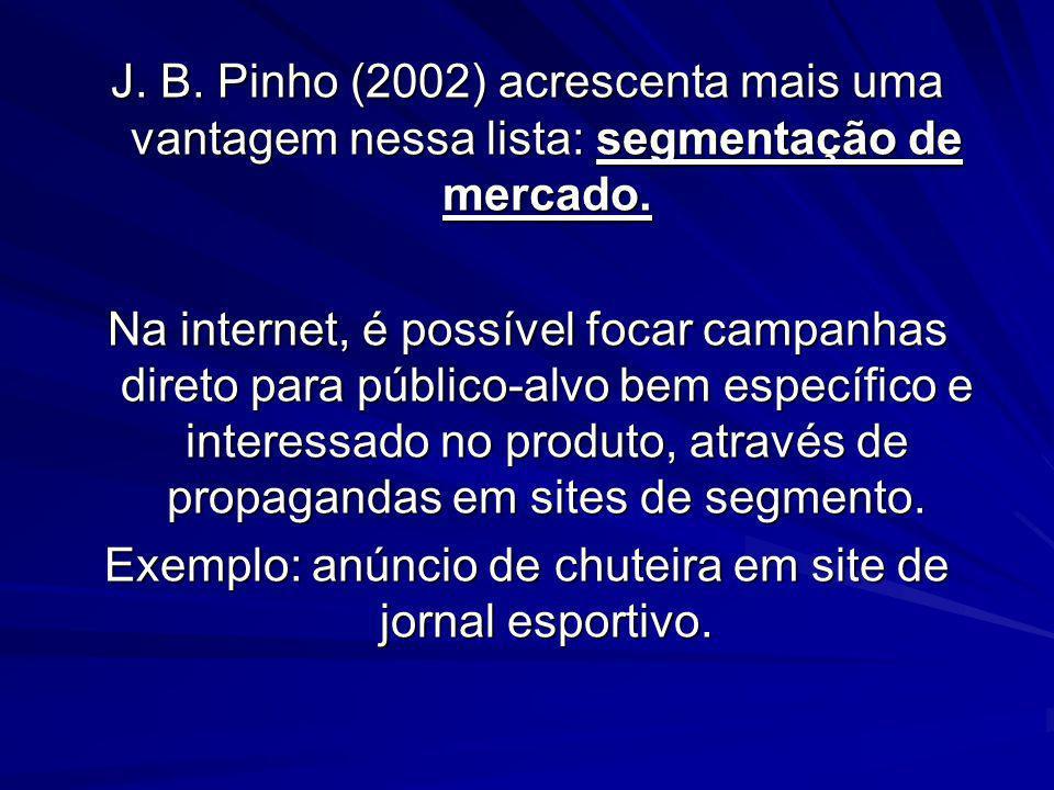 J. B. Pinho (2002) acrescenta mais uma vantagem nessa lista: segmentação de mercado. Na internet, é possível focar campanhas direto para público-alvo