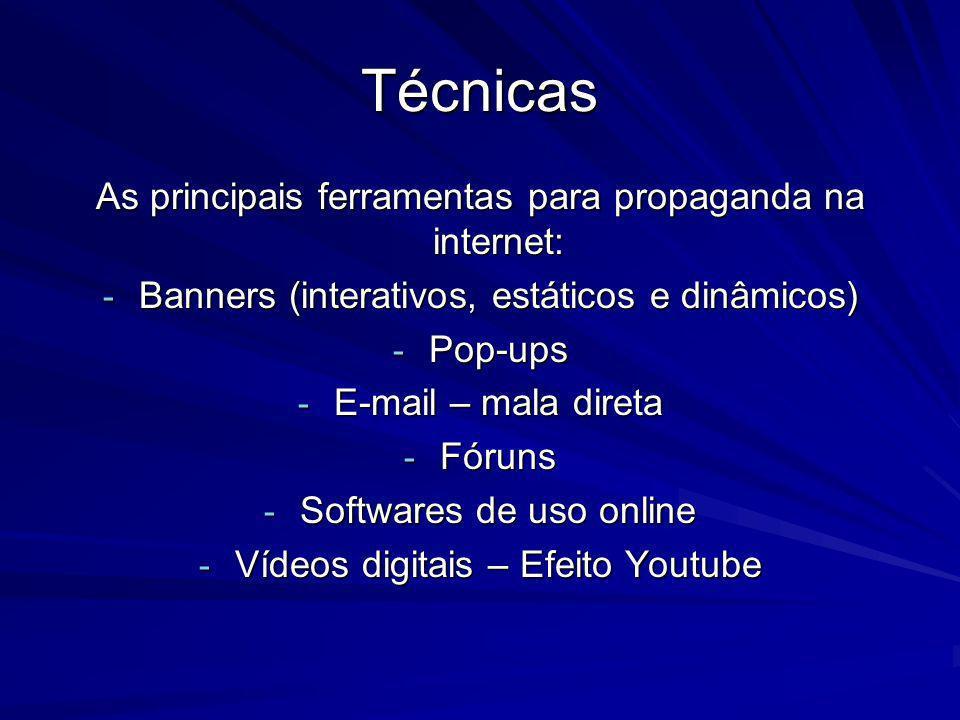 Técnicas As principais ferramentas para propaganda na internet: - Banners (interativos, estáticos e dinâmicos) - Pop-ups - E-mail – mala direta - Fóru