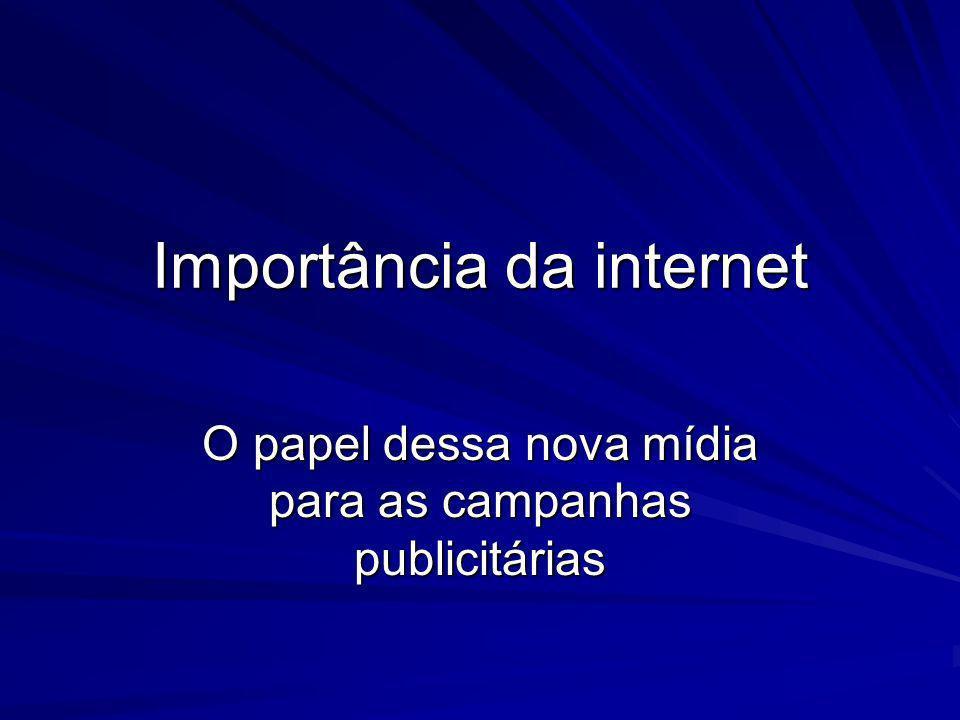 Importância da internet O papel dessa nova mídia para as campanhas publicitárias