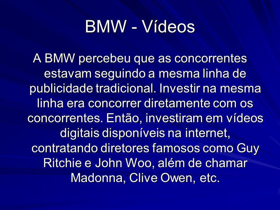 BMW - Vídeos A BMW percebeu que as concorrentes estavam seguindo a mesma linha de publicidade tradicional. Investir na mesma linha era concorrer diret