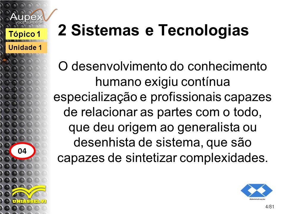 2 Sistemas e Tecnologias O desenvolvimento do conhecimento humano exigiu contínua especialização e profissionais capazes de relacionar as partes com o
