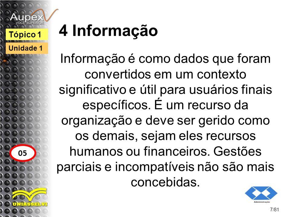 4 Informação Informação é como dados que foram convertidos em um contexto significativo e útil para usuários finais específicos. É um recurso da organ