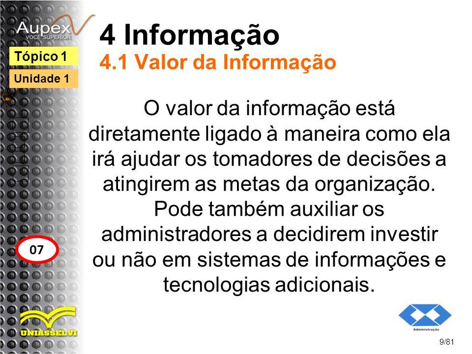 4 Informação 4.1 Valor da Informação O valor da informação está diretamente ligado à maneira como ela irá ajudar os tomadores de decisões a atingirem
