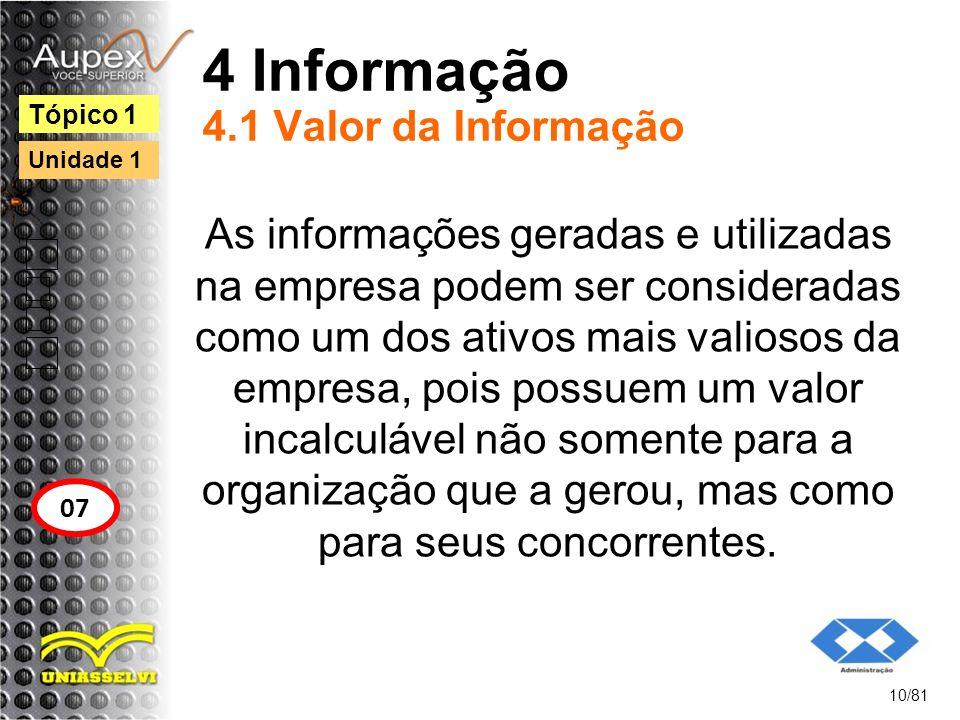 4 Informação 4.1 Valor da Informação As informações geradas e utilizadas na empresa podem ser consideradas como um dos ativos mais valiosos da empresa