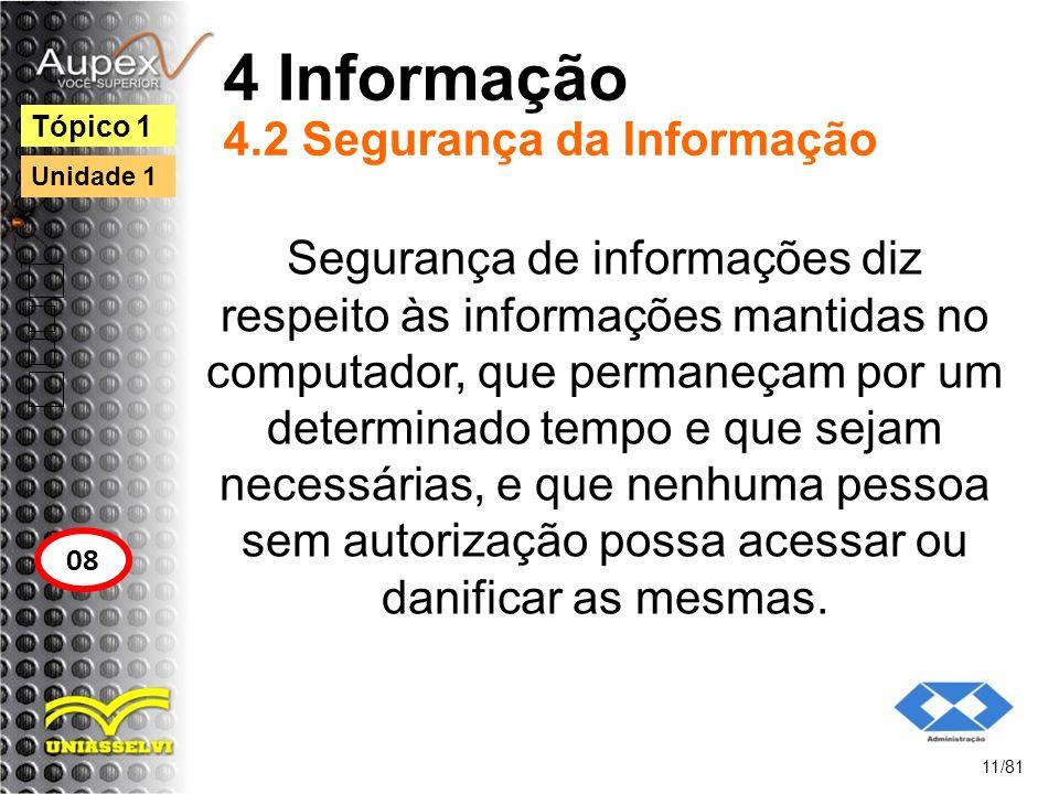 4 Informação 4.2 Segurança da Informação Segurança de informações diz respeito às informações mantidas no computador, que permaneçam por um determinad