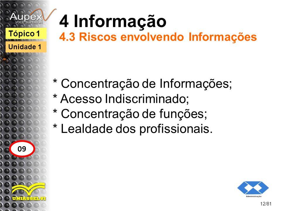4 Informação 4.3 Riscos envolvendo Informações * Concentração de Informações; * Acesso Indiscriminado; * Concentração de funções; * Lealdade dos profi
