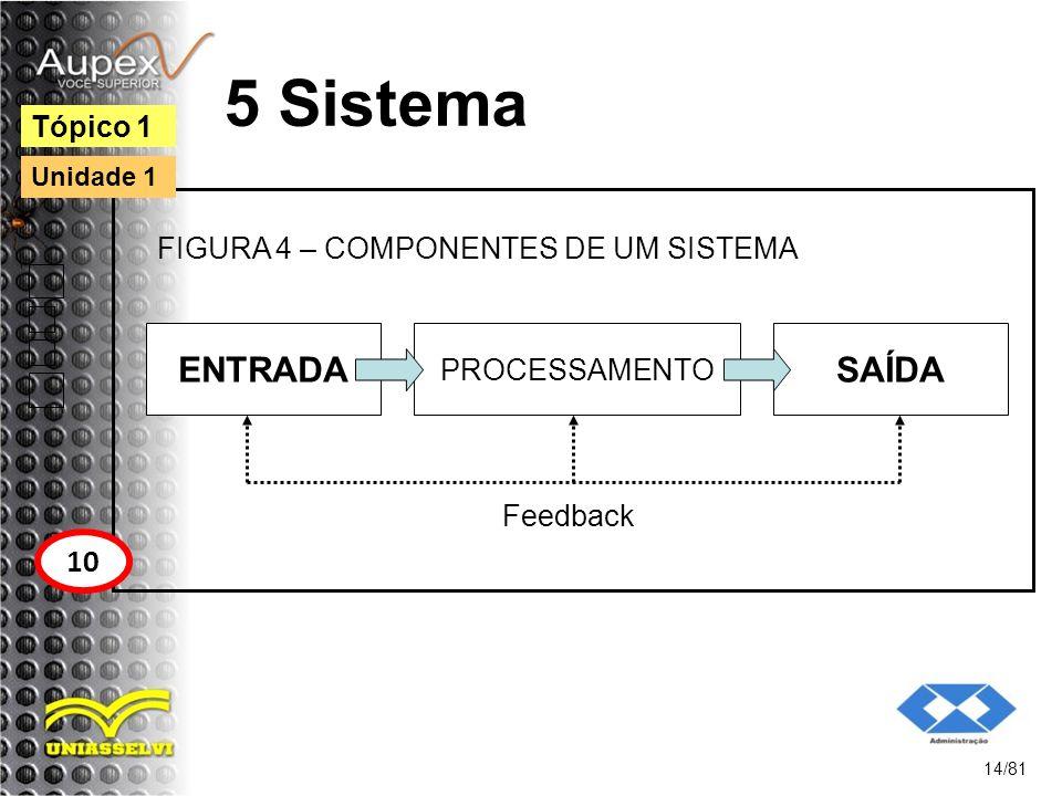 5 Sistema ENTRADA 14/81 Tópico 1 10 Unidade 1 PROCESSAMENTO SAÍDA Feedback FIGURA 4 – COMPONENTES DE UM SISTEMA