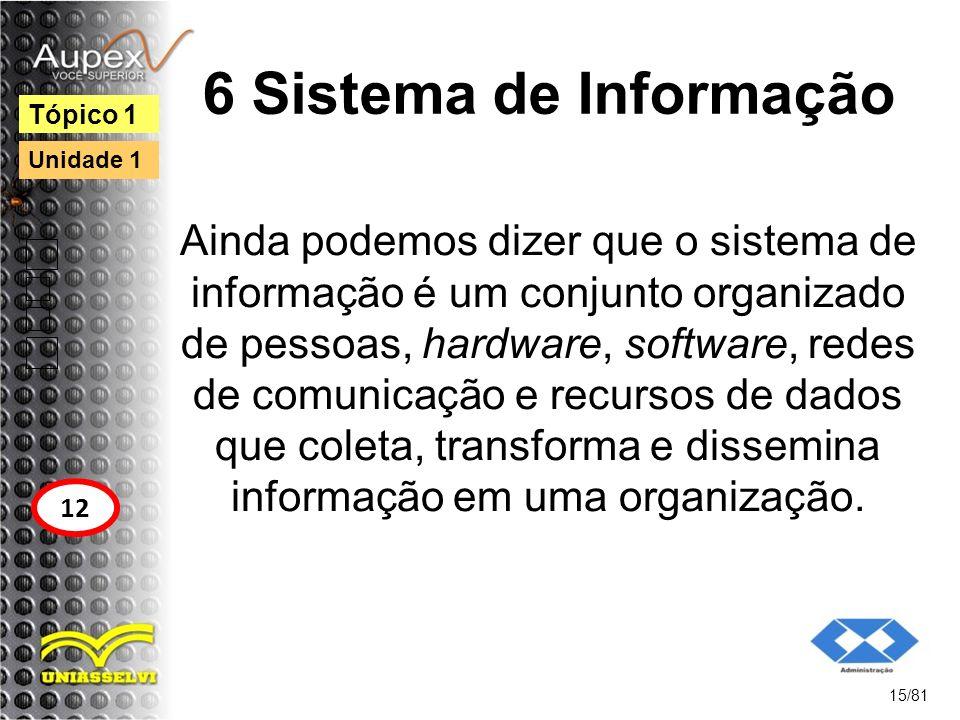 6 Sistema de Informação Ainda podemos dizer que o sistema de informação é um conjunto organizado de pessoas, hardware, software, redes de comunicação