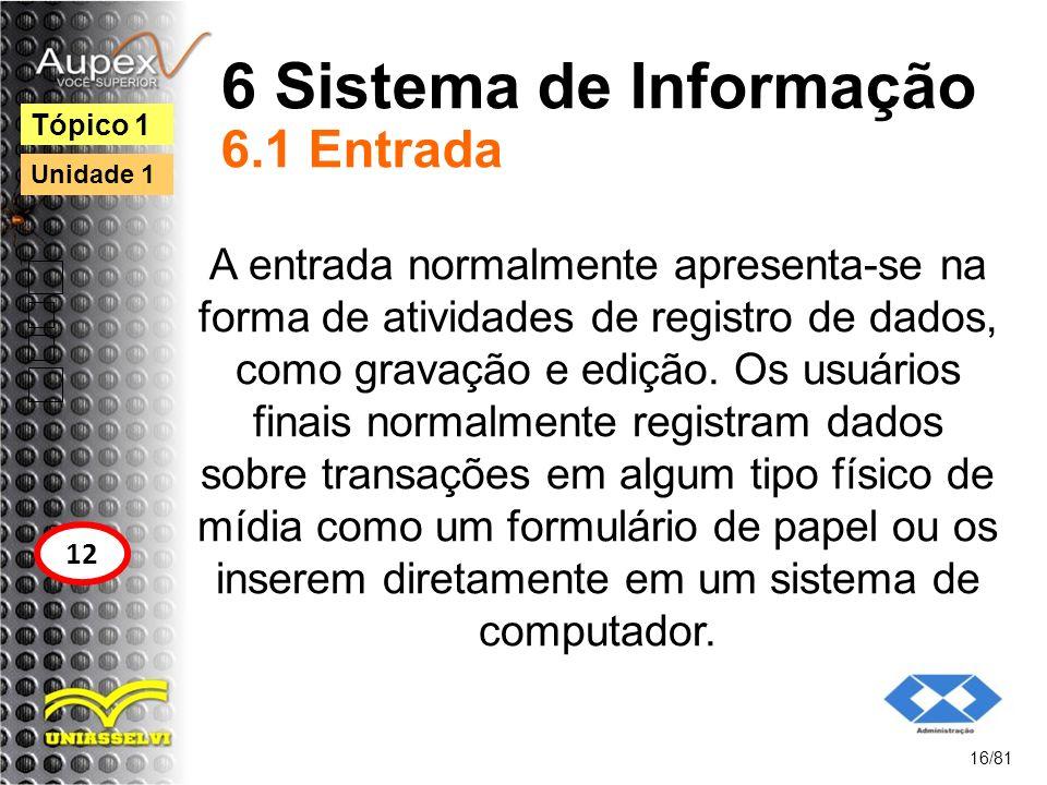 6 Sistema de Informação 6.1 Entrada A entrada normalmente apresenta-se na forma de atividades de registro de dados, como gravação e edição. Os usuário