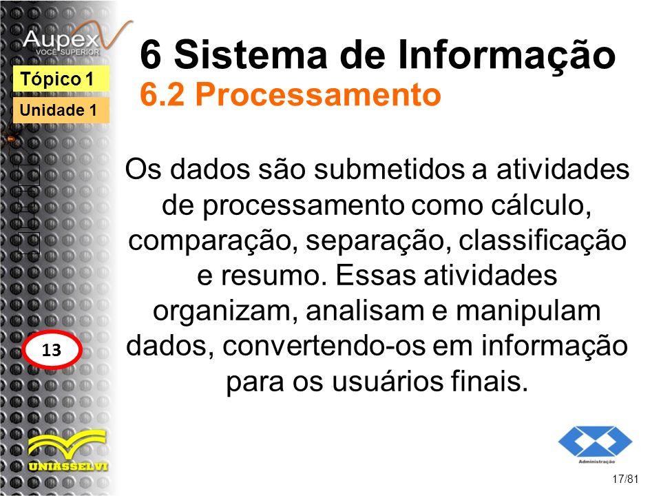 6 Sistema de Informação 6.2 Processamento Os dados são submetidos a atividades de processamento como cálculo, comparação, separação, classificação e r