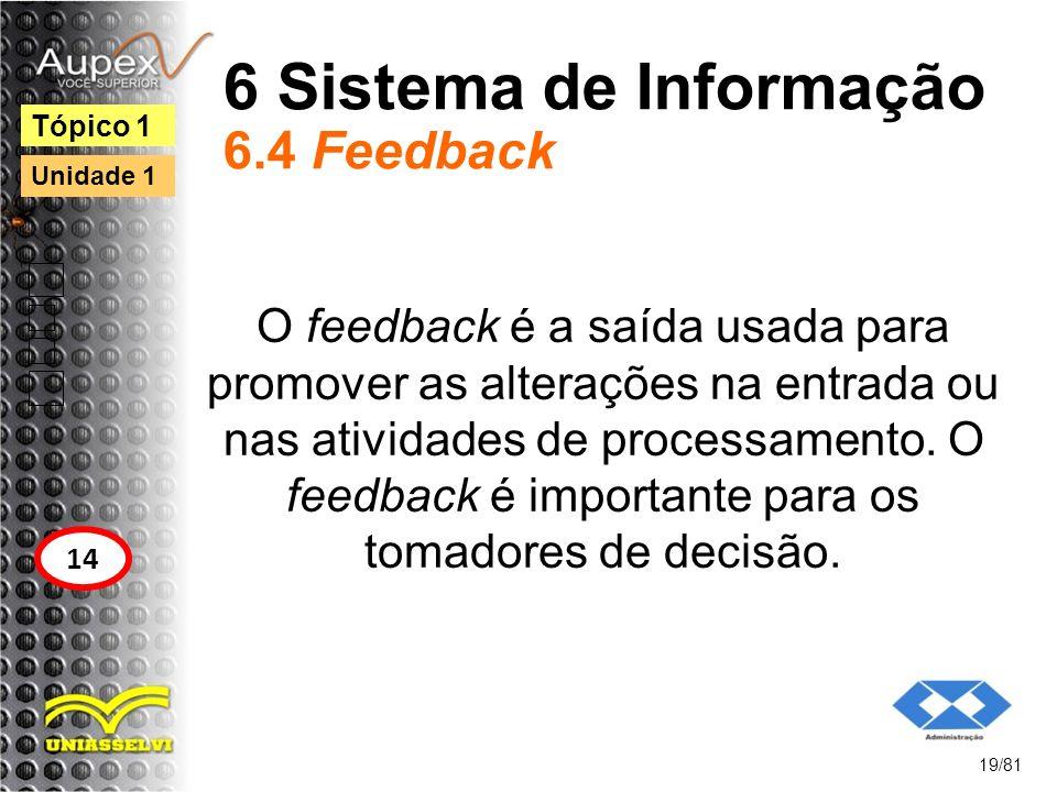 6 Sistema de Informação 6.4 Feedback O feedback é a saída usada para promover as alterações na entrada ou nas atividades de processamento. O feedback