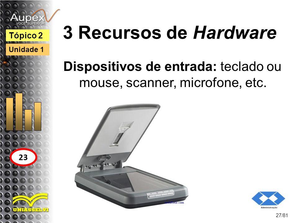 3 Recursos de Hardware Dispositivos de entrada: teclado ou mouse, scanner, microfone, etc. 27/81 Tópico 2 23 Unidade 1