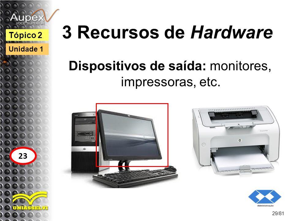 3 Recursos de Hardware Dispositivos de saída: monitores, impressoras, etc. 29/81 Tópico 2 23 Unidade 1